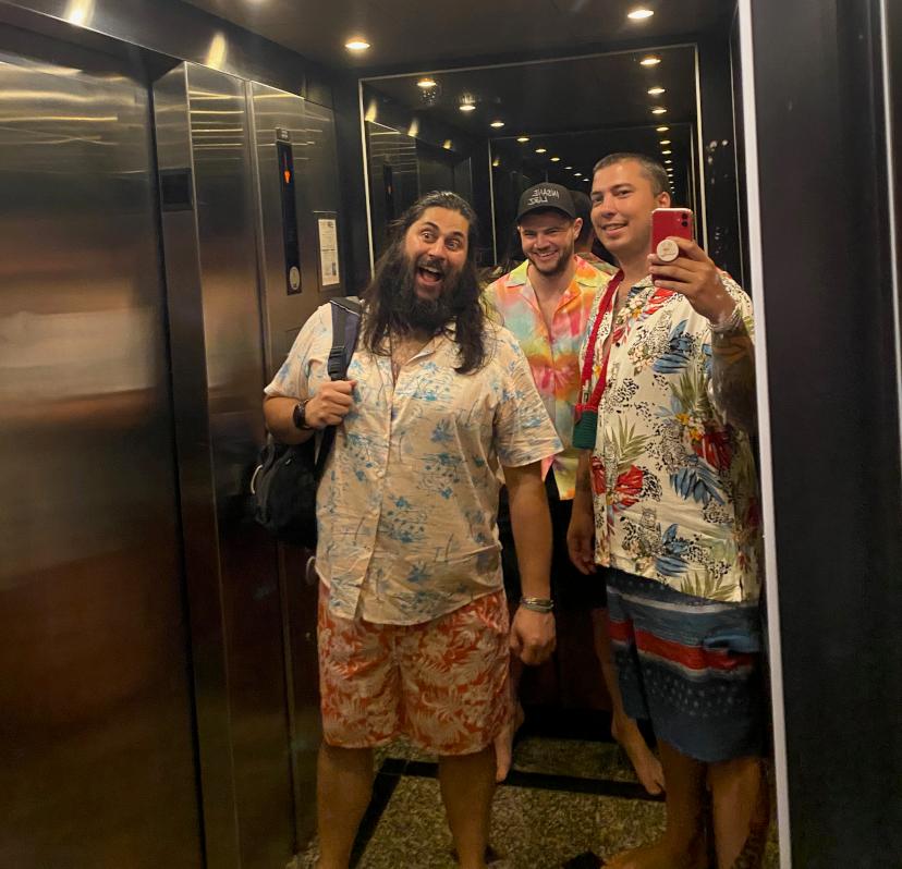 Captain Matt and Maverick Mike at a resort looking at landscape lighting